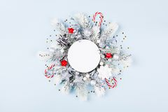 Christmas card with holiday decorations royalty free stock image