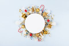 Christmas card with holiday decorations. Christmas card with festive decorations stock photography