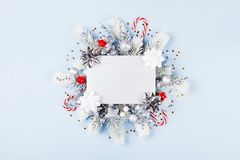 Christmas card with holiday decorations. Christmas card with festive decorations stock photo