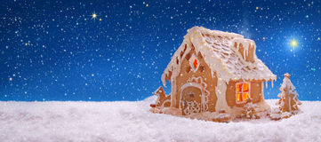 Free Christmas Card.  Holiday Gingerbread House  . Royalty Free Stock Photography - 47855137