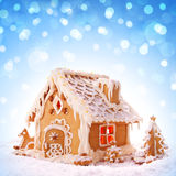 Christmas card.  Holiday Gingerbread house  . Stock Image