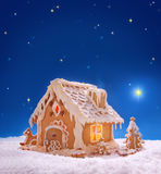 Christmas card.  Holiday Gingerbread house  . Stock Photo