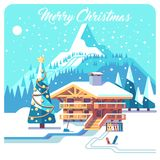 Christmas card. Holidays in village. Mountain detailed landscape with lodge. Vector flat illustration. Royalty Free Stock Photography
