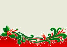 Christmas card with holly. Holly leaves and berries  on abstract background Royalty Free Stock Image