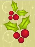 Christmas card with holly berry Stock Images