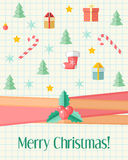 Christmas card with holly berry and Christmas icons Stock Photos