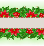 Christmas card with holly berry and poinsettia Royalty Free Stock Photos