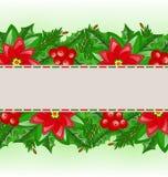 Christmas card with holly berry and poinsettia. Illustration Christmas card with holly berry and poinsettia - vector Royalty Free Stock Photos
