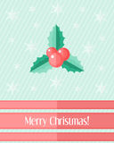 Christmas card with holly berry and red ribbons Royalty Free Stock Photo