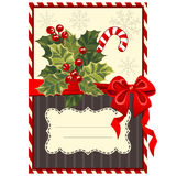 Christmas card with holly berry Stock Photos