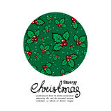 Christmas card-07. Christmas holly frame isolated on white background. Christmas vector. Xmas illustration. Design element for greeting cards or flyers Royalty Free Stock Photography