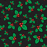 Christmas card-05. Christmas holly pattern on black background. Christmas seamless background.  Xmas vector. Design element for greeting cards or flyers Royalty Free Stock Images