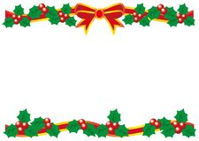 Christmas card holly pattern - decorated with a ribbon vector illustration