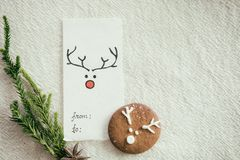 Christmas card and homemade gingerbread cookie. Stock Images