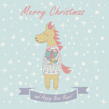 Christmas card with horse. Christmas and Happy New Year greeting card with funny horse holding giftbox vector illustration