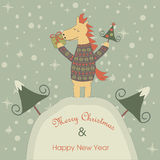 Christmas card with horse. Christmas and Happy New Year greeting card with funny horse holding christmas tree and giftbox royalty free illustration