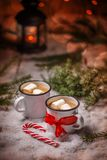 Christmas card with hot chocolate Royalty Free Stock Image