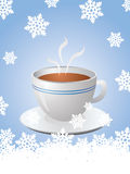 Christmas card with hot cup of coffee. And snowflakes Stock Image