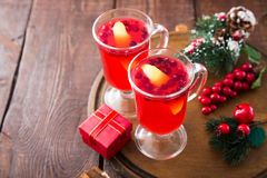 Christmas card. hot spicy Christmas drink of cranberry and spice Stock Image