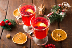 Christmas card. hot spicy Christmas drink of cranberry and spice Stock Images