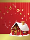 Christmas card with house Stock Images