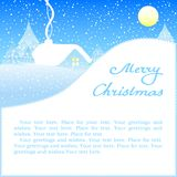 Christmas card with house in snow. Royalty Free Stock Images