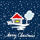 Christmas card with house tree and snowflakes Stock Photos