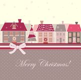 Christmas card with houses Royalty Free Stock Image