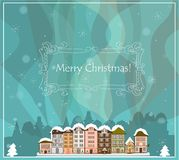 Christmas card with houses, vector Stock Photo