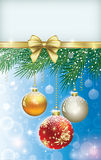 Christmas card 2014. сhristmas card with balls on a Christmas tree branch Royalty Free Stock Photo