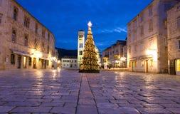 Christmas card from Hvar. Main square in Hvar on Christmas Eve, Croatia Stock Image