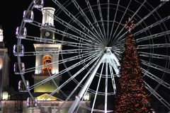 Christmas card in the illumination of the city of Kiev