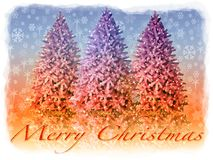Christmas card illustration. Fir trees under the snow at Christmas Stock Photography