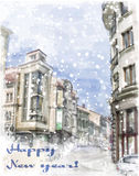 Christmas card  with illustration of city street. Stock Image