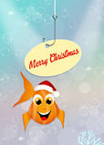 Christmas card. Illustration of red fish with Christmas hat Royalty Free Stock Photo