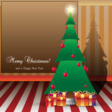 Christmas Card Illustration Tree and peasents with Royalty Free Stock Image