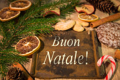 Christmas card with italian text Stock Image