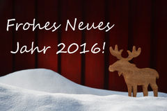 Christmas Card With Jahr 2016 Mean New Year And Moose Stock Photos