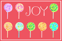Christmas card. Joy and lollipops Stock Photos