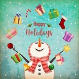 Christmas card with juggling snowman Royalty Free Stock Photos