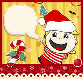 Christmas card kid Stock Images