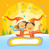 Christmas card- kids Stock Photography