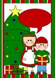 Christmas card with kids. A Christmas tree card with kids in a bright illustration Royalty Free Stock Image