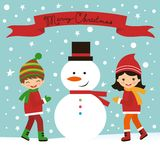Christmas card with kids and snowman Royalty Free Stock Images