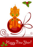 Christmas card. kitten with Christmas ball Stock Images