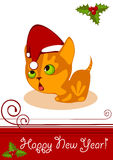 Christmas card. Kitten with Hat Stock Image