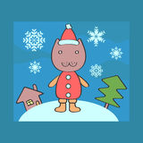Christmas card with kitty Royalty Free Stock Photography