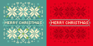 Christmas card with knitted pattern Stock Image