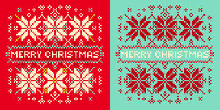 Christmas card with knitted pattern Royalty Free Stock Photography