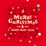 Christmas card with  knitted snowflakes Stock Images
